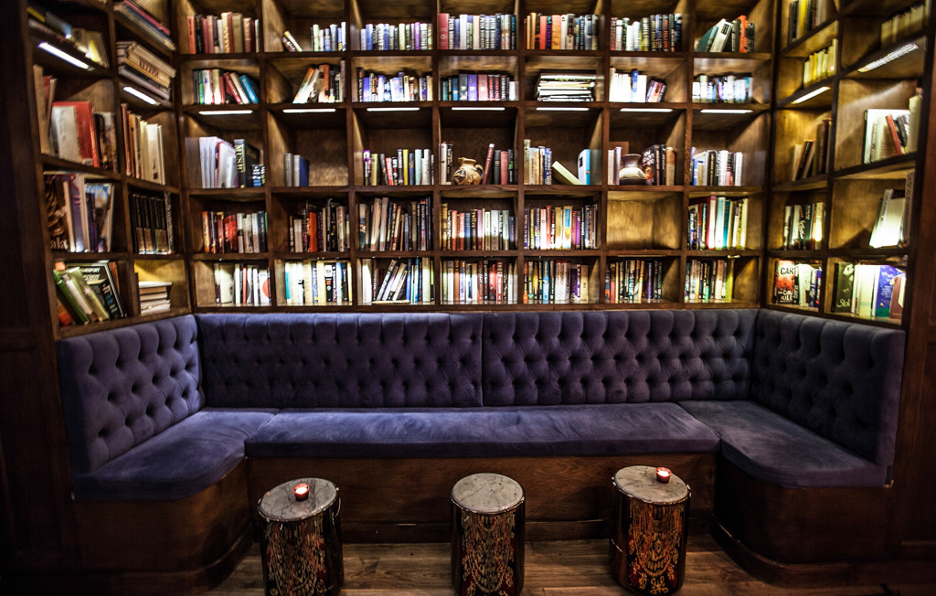 Wooden Library At London Private Club