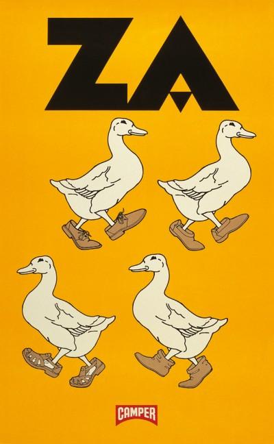 Uno tra gli esclusivi e originali poster esposti a Life on Foot, la mostra che celebra I 40 anni di Camper