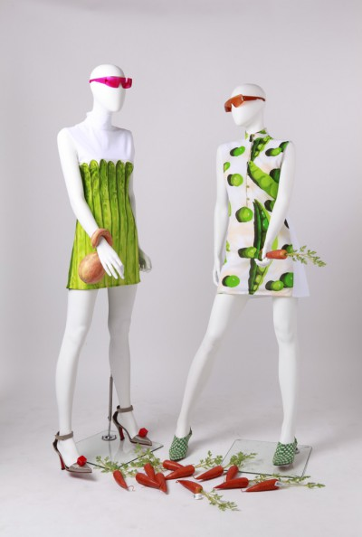 mannequins dressed with food clothes