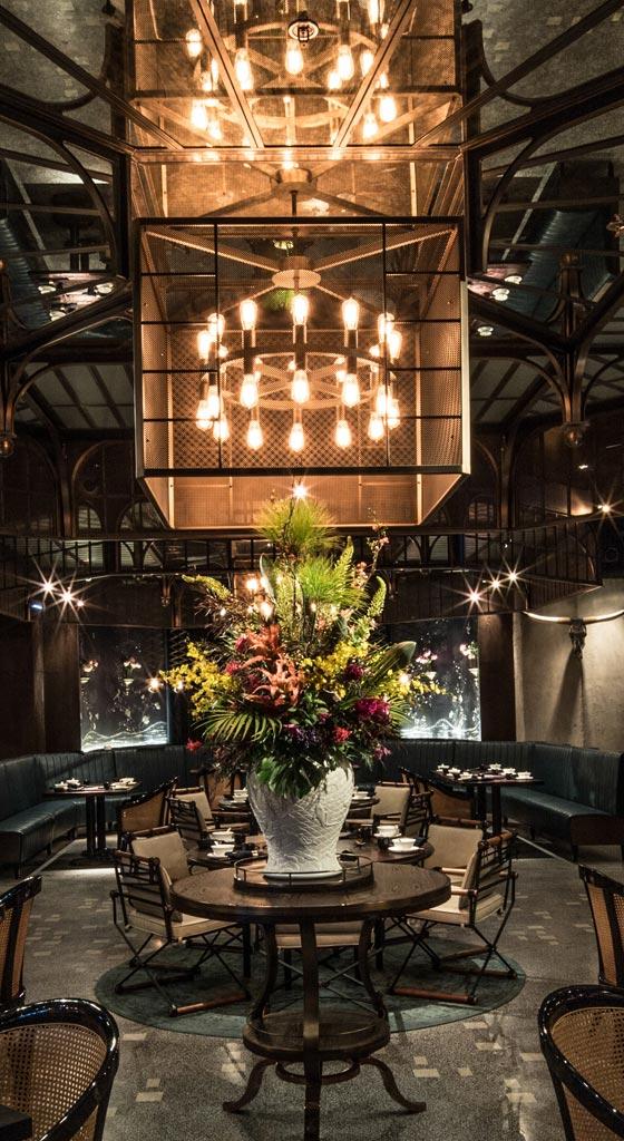 Interior of Mott 32 restaurant in Hong Kong