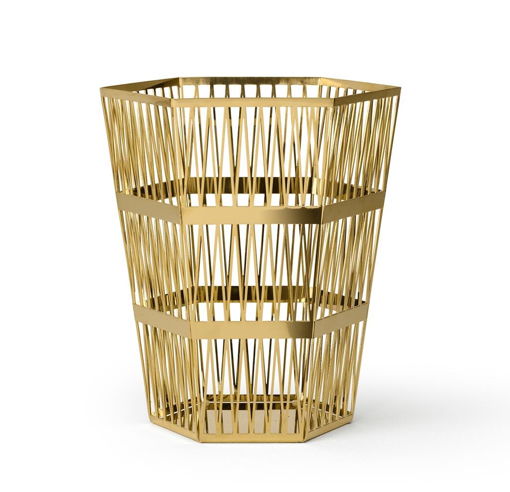trash bin in polished brass